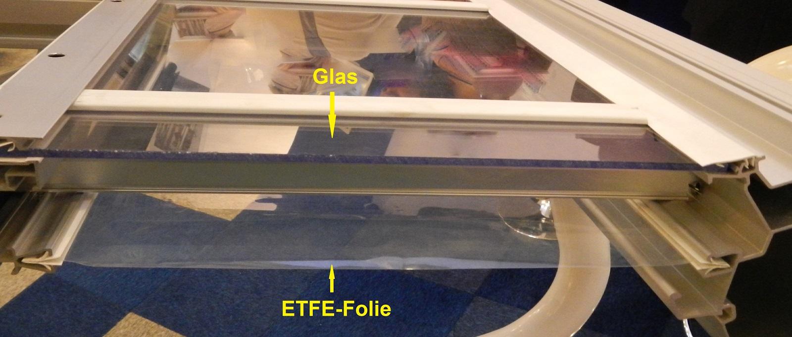 ETFE-Unterzug unter Glas